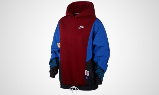 Nike WMNS Sportswear Hooded Long Sleeve Top (rot / blau / schwarz)